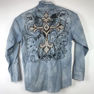 ROAR Signature Gray Button Front Shirt Embroidered